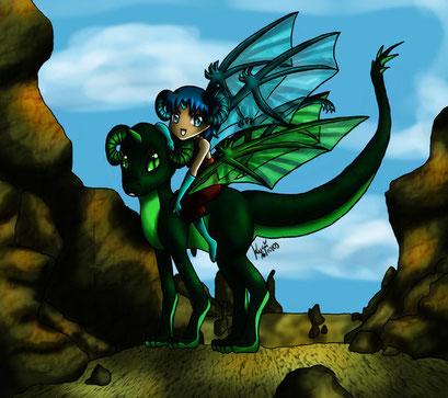 Du & ich ~ altes Bild für einen Ex ~ er der Drache - ich das Drachenmädchen ~ Colo: Painttool Sai, Animation (Augen): Photoshop
