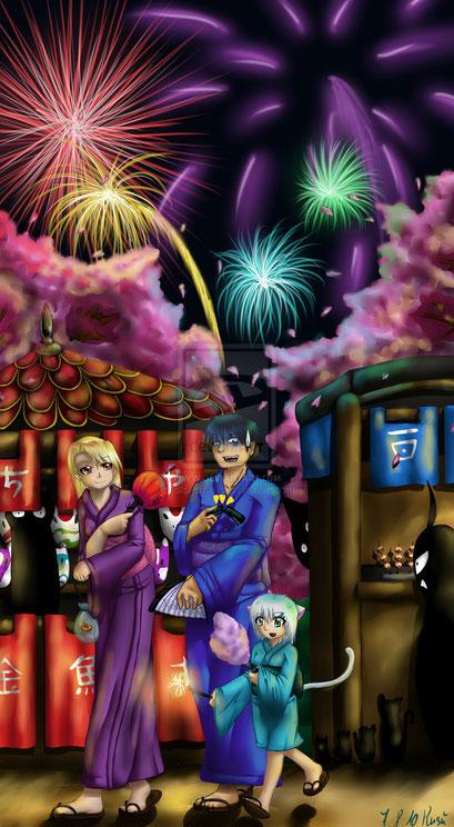 Roy Mustang, Riza Hawkey und OC aus Fullmetal Alchemist ~ Painttool Sai