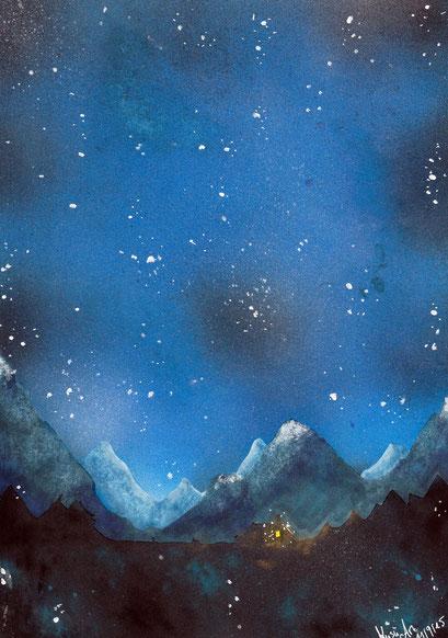 nächtliche Berglandschaft ~ Übungsbild ~ Copic Markerm,  Airbrush & Pastelkreide ~ A4