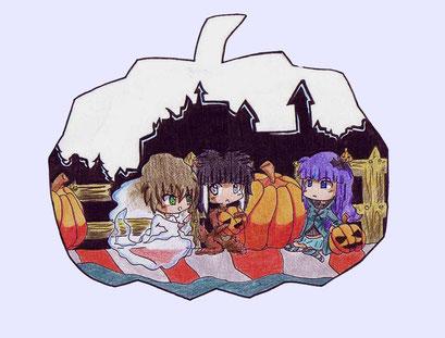 Chibi Alina, Kusú und Kusú (Zeichner) an Halloween ~ Buntstifte ~ A4