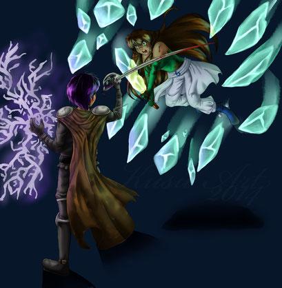 Best Artist Beitrag 2 ~ Kampfszene zwischen OC Alina und OC Baal ~ Painttool Sai