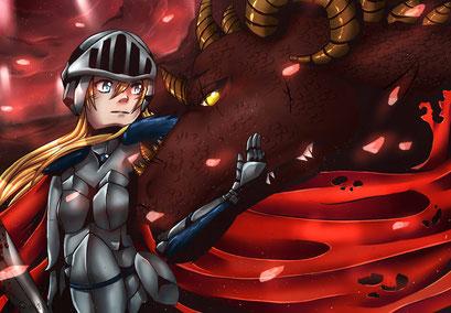 Auf dem Schlachtfeld ~ Postkarten Motiv ~ Painttool Sai