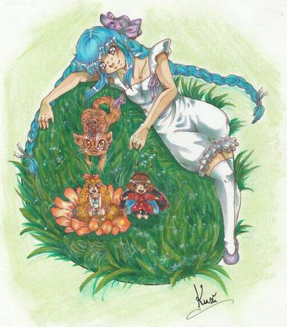 Phienea and friends ~ Wettbewerbsbeitrag für Miaow auf Animexx ~ Copic Marker ~ A4