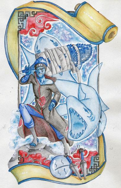 Kisame aus Naruto ~ Artbook Projekt fürs Naruto Artbook ~ Aquarell ~ A4