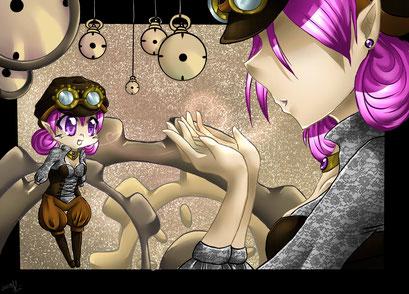 Steampunk Love ~ Postkartenmotiv ~ Painttool Sai