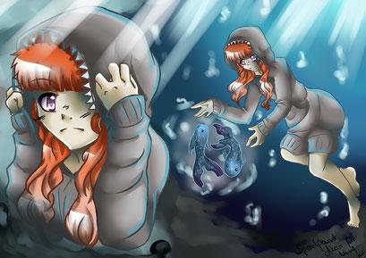 Wunschbild für Niine ~ OC Akari und Fische ~ Painttool Sai ~ A4