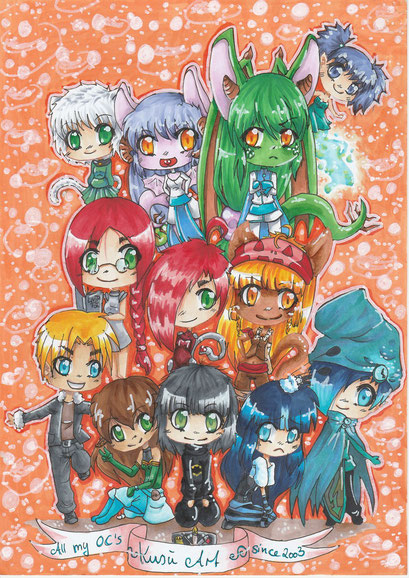 All my Chibi OCs ~ Gruppenbild ~ Copic Marker ~ A4