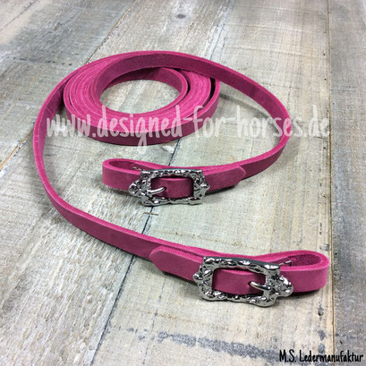Fettlederzügel pink mit silbernen Barockschnallen