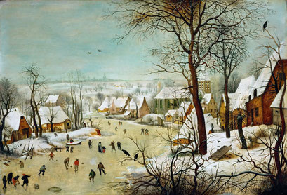 Winterlandschaft mit Eisläufern und Vogelfalle