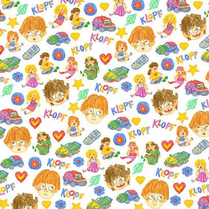 """Kinderspiel"" - Muster für das Vorsatzpapier eines Kinderbuchprojekts"