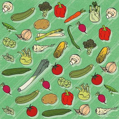"""""""Gemüseparty"""" - Muster für ein Designprojekt"""