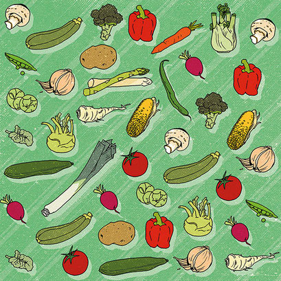 """Gemüseparty"" - Muster für ein Designprojekt"