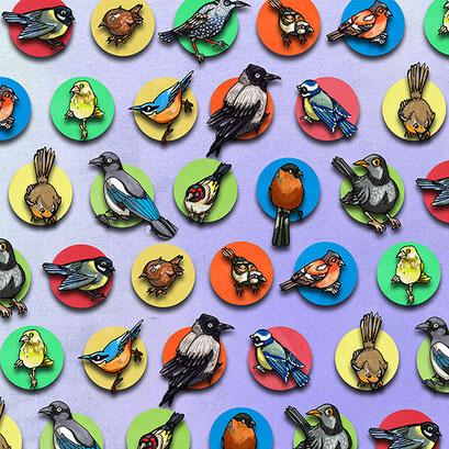 "Februar Vögel" - Hintergrundmuster für eine Illustration