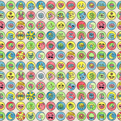 """Monster Porträts"" - Muster mit Monstermotive für Geschenkpapier"