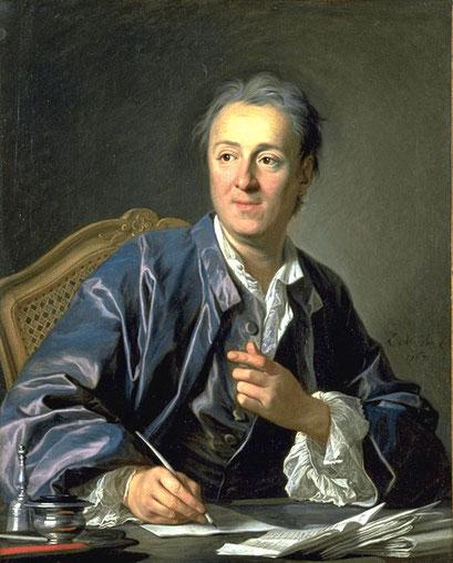 Diderot (1713-1784), dirige l'Encyclopédie avec d'Alembert