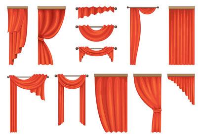 mueden.de, Gardinenservice, Bild von Pictogramm für Gardinen in rot