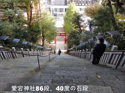 愛宕神社86段、40度の石段