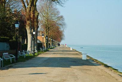 on descend par un ruelle de la villa haute de la VILLA ST VAL b&b sur les quais de Saint Valéry sur somme Baie de somme
