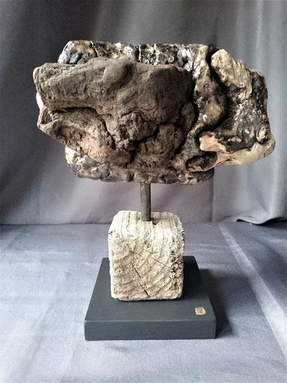 Fonds des océans 19 Poisson stylisé Grès noir émaillé et Bois flotté 25x30cm 2019