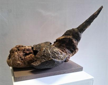 Fonds des océans 10 Raie Grès noir émaillé et Bois flotté 40x20cm2019