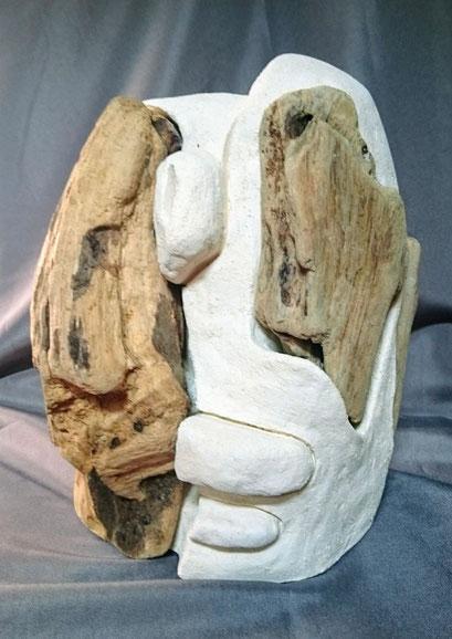 Rencontre Terre et Mer, Tête 5, 30cm, Terre patinée et Bois flotté  2018