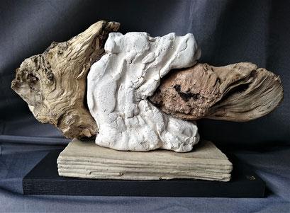 Fonds des océans 5 Poisson blanc 2 Faïence blanche et Bois flotté 34x22cm 2019