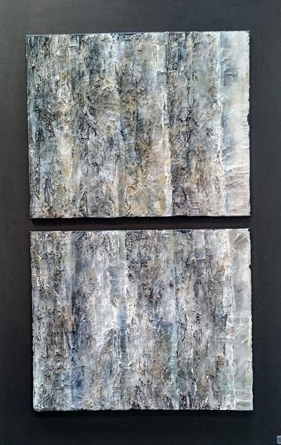 Forêt des Landes Enduit acrylique sur toile Dyptique 80x130cm 2018