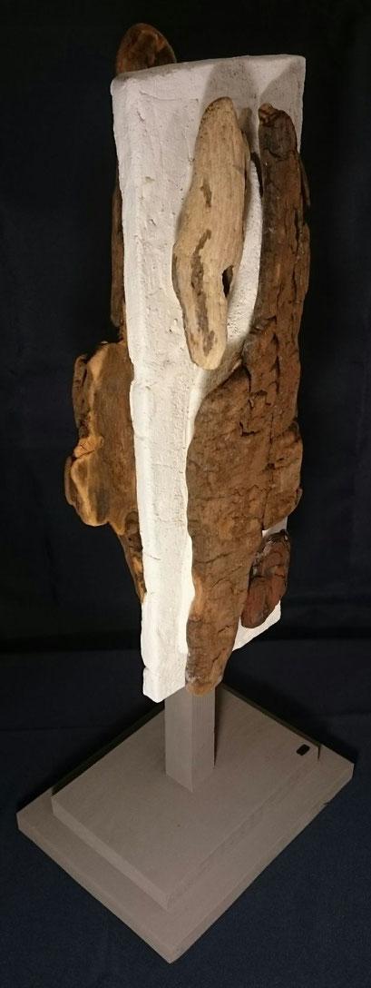 Rencontre Terre et Mer, Tête 4, 50cm, Terre et Bois flotté  2018