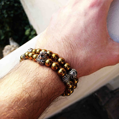 Lion (gold) and Shenlong (gold) gemstone beads bracelet with 925 sterling silver made by BeHero