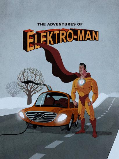 Illustrationsstrecke zum Thema Elektro-Mobilität - Motiv: Superheld Elektroman - Magazin: Spiegel Wissen