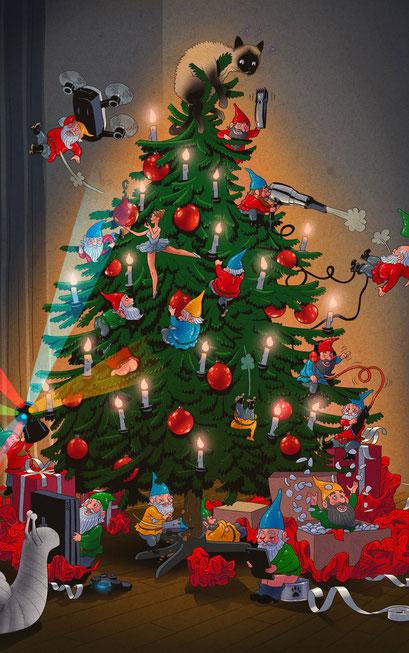 Wimmelbild Illustration für ein Give Away als Adventskalender - Titel: Zwergen Weihnacht - Kunde: Mediamarkt