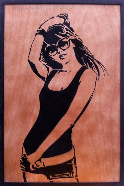 Laurent Gugli Tai Girl Spray Paint CP 75x50 cm
