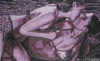 Laurent Gugli-Kiss Two 146x89 cm Acrylique sur toile