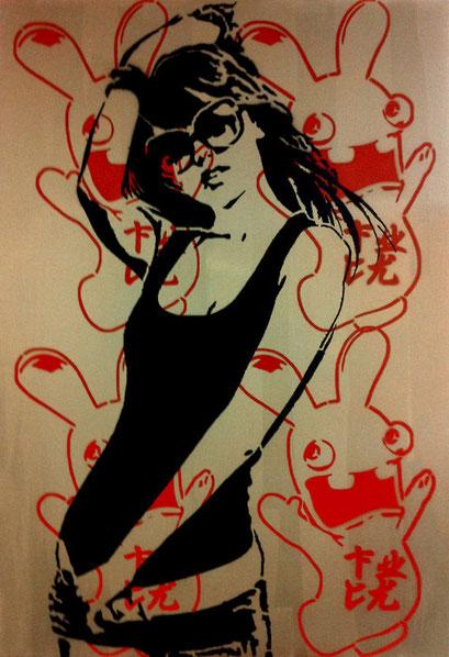 Laurent Gugli China Girl F Air Spray Stencil 130x89 cm acrylic / canevas