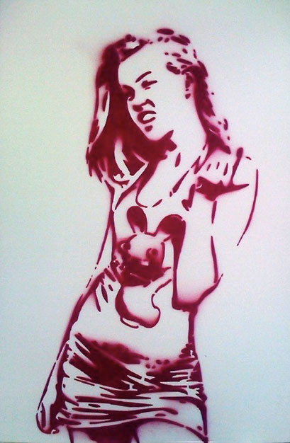 Laurent Gugli-Girly Cretin 120x80 cm Stencil sur PVC