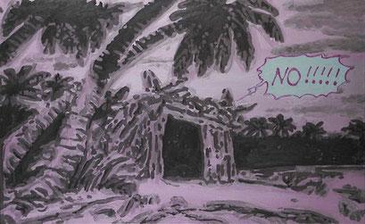 Laurent Gugli-Palm Beach Hotel 146x89 cm Acrylique sur toile