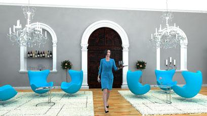 Innenraum Hotel Lobby 3D-Visualisierung