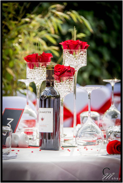 décoration centre de table trio verre photophore roses rouges