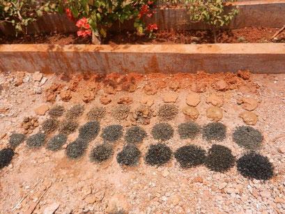 Gesteinsprobe nach jedem Meter der Bohrung