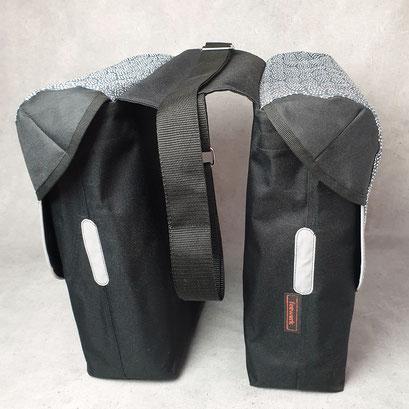 Gepäckträgertasche, doppelt, Packtasche, Fächer, blau,