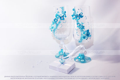 Свадебные бокалы на заказ, коробочка для подарка.