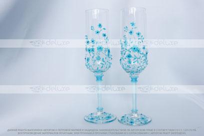 Свадебные бокалы для шампанского, роспись по стеклу - витраж