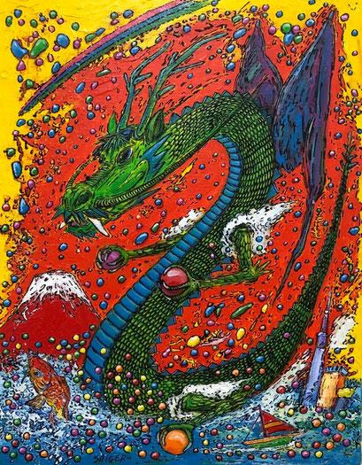 石川 茂 「龍神と赤富士」 F6号  アクリル絵の具