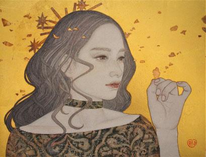 八木恵子  F6号「ノイズが消えるとき」 麻紙に墨 岩絵の具 金箔 銀箔