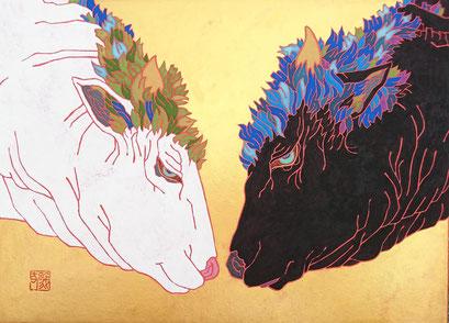 鵜飼義丈 作品名 「言祝ぎ」 サイズ F4号 技法    日本画(和紙、岩絵具)