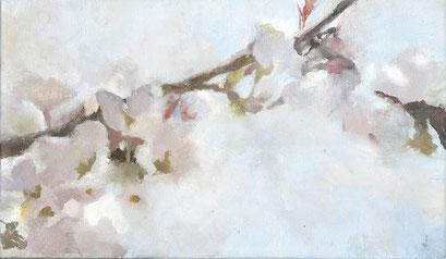 権守 ひかる 「春霞」M3(273×160mm) 油彩 キャンバス
