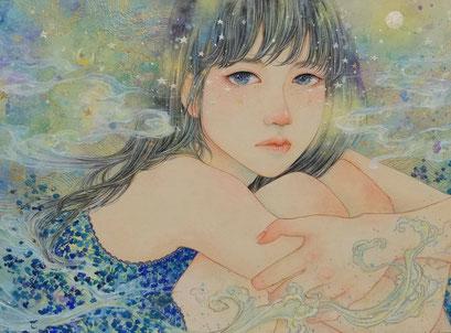 こみや 梢子 F4「私のせかい」日本画 岩絵具、水干絵具、墨/天竺綿