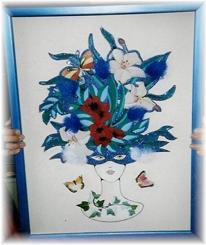 """C 3g  Masque BLEU """"tissus, plumes, paillettes, papillons"""""""