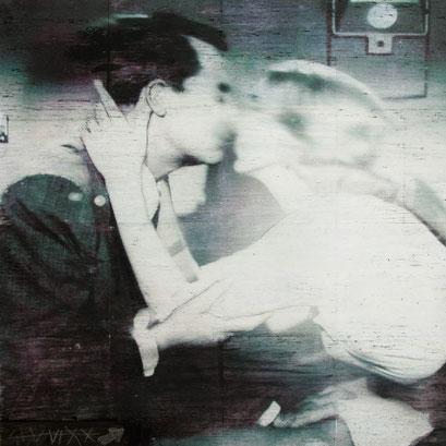 "AVAILABLE - ""The Kiss"" mixed media 80x80cm"