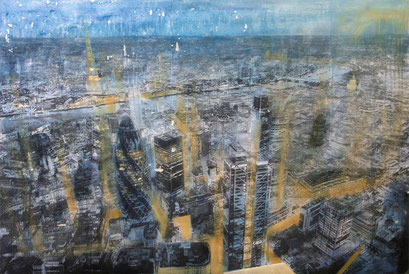 SOLD - London 1 - work on commission - Mixed media, collage and acrylic paint on paper on canvas - 150x100cmouble pa- 150x100cm